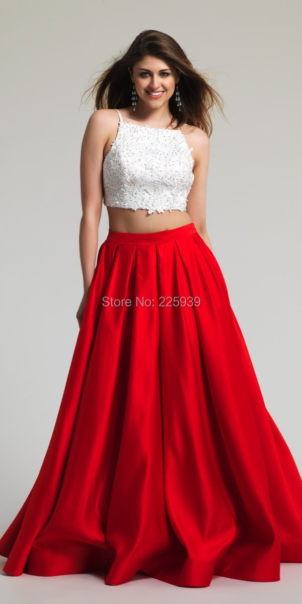 Popular Red and White Prom Dress Full Length-Buy Cheap Red and ...