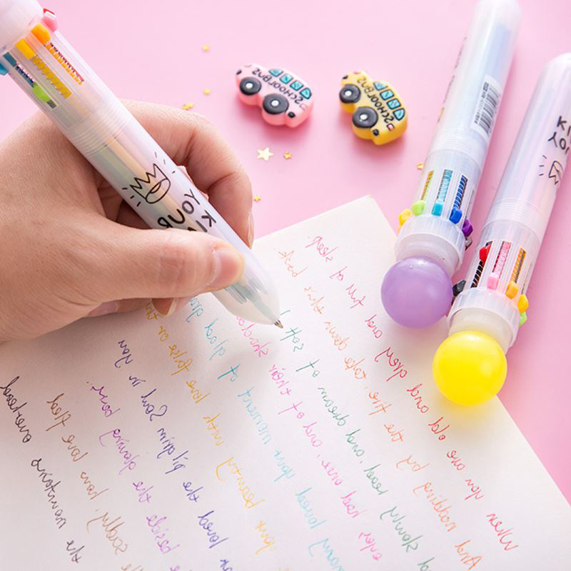 Creative 10 Colors Ballpoint Pen Marker Pen Multifunction Candy Color Press Ball Pen for Kids Student Gift Office School Supply in Ballpoint Pens from Office School Supplies