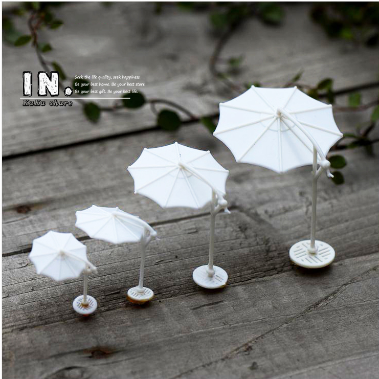 Cute mini white Parasol home Decor miniature garden ornaments