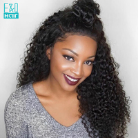 Brazilian Kinky Curly Glueless Lace Front Human Hair Wig For Black Women 8 24Inch Long Remy Hair Wig Pre Plucked Free Part