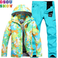 GSOU SNOW Brand Ski Suit Men Ski Jacket Pants Winter Waterproof Skiing Suits Snowboarding Sets Outdoor Sport Male Snow Clothing
