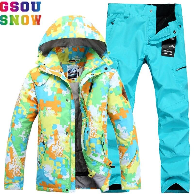 GSOU marque de neige combinaison de Ski hommes veste de Ski pantalon hiver imperméable combinaisons de Ski ensembles de snowboard Sport de plein air mâle vêtements de neige