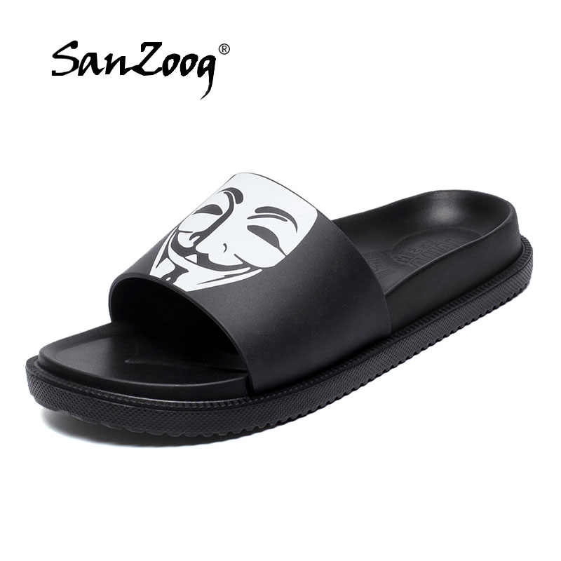 844abe5c7a6619 Summer Slides Men Casual Men's Slippers Soft Comfortable Funny Home Slippers  Non-Slip Flat Bathroom