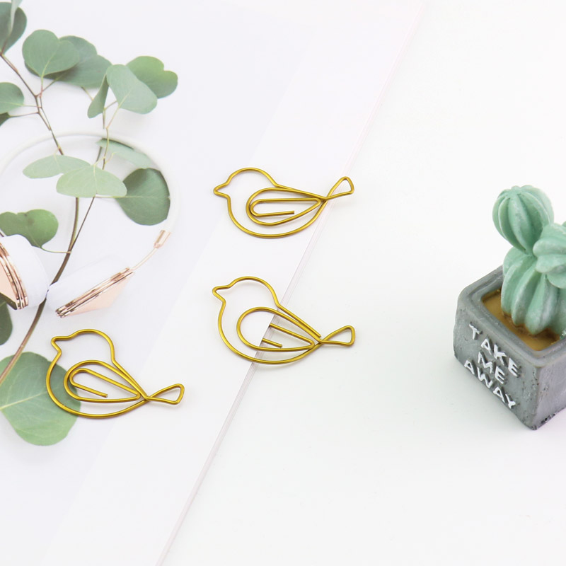 TUTU 30pcs Cartoon Animal Bird Paper Clip Student Stationery Large Gold Rose Gold Clip CUTE Office Accessories BOOKMARK H0261