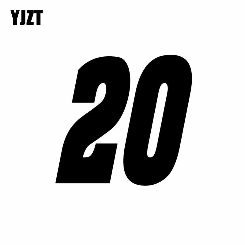 YJZT 12.5CM*12CM Interesting Number 20 Vinyl High-quality Car Sticker Decoration Decal Black/Silver C11-0837