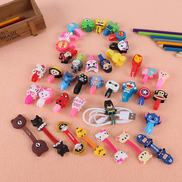 Cartoon Cable Organizer Winder Earphone Usb-Cord-Holder Data-Line Samsung 10pcs/Lot
