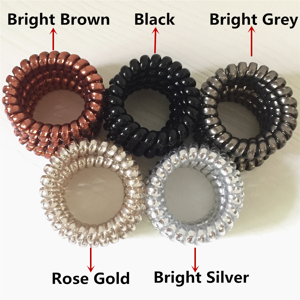 Wholesale 20PCS Candy Bright Color High Elasticity Telephone Wire Bracelet Spiral Band Coil Bracelet Women Hair Ponytail Holder in Wrap Bracelets from Jewelry Accessories