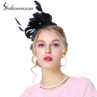 Sedancasesa Wedding Fascinator cocktail hats for women French Formal Sinamay Church Hat Ladies Party girl Hair Band Accessories