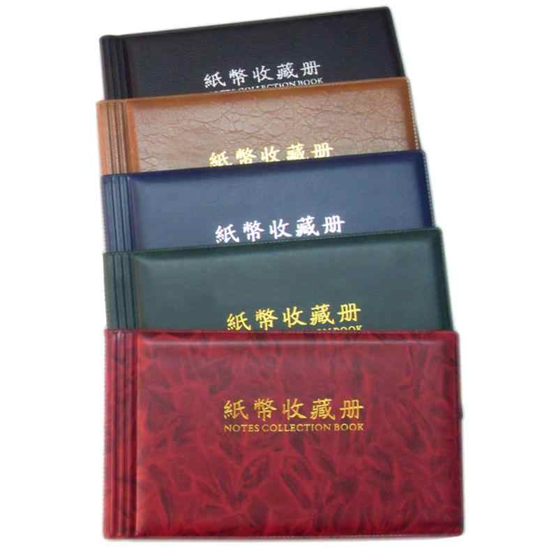 Paper Money Collection Album Stamps Book Red Color Leather Banknote 20 Page