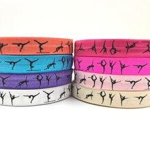 Şerit toptan/OEM 5/8 ''16mm renkli jimnastik tasarım spor baskılı katlanmış elastik FOE üzerinde saç kravat