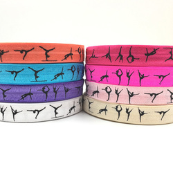 ribbon wholesale/OEM 5/8'' 16mm  colorful gymnastics design sport printed folded over elastic FOE for hair tie
