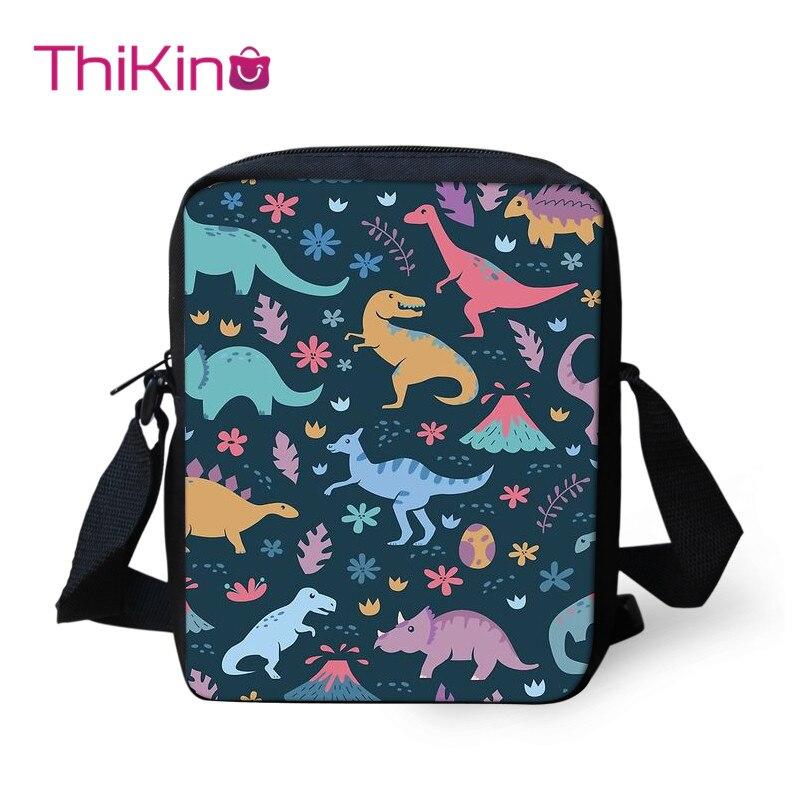 Thikin Dinosaur Child Shoulder School Square Messenger Bag Animal Kids Crossbody Schoolbag For Girls Book Bags Mochila Infantil
