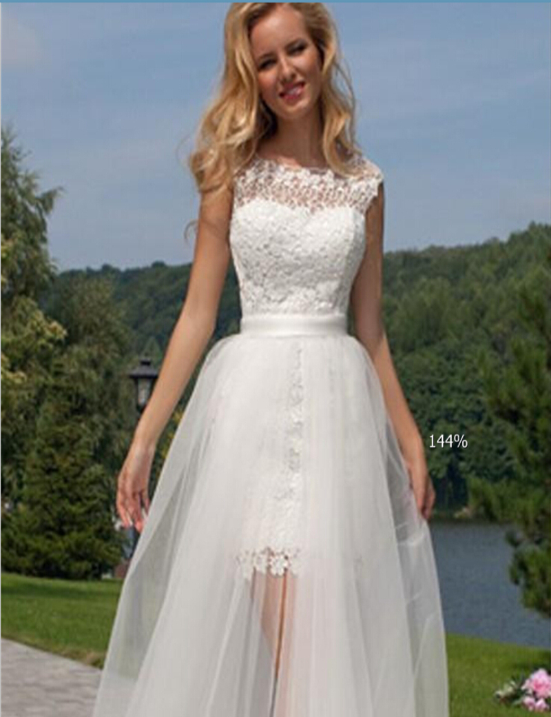2015 Short Front Long Back Wedding Dress Scalloped Open Detachable Train Lace High Low Gowns Vestidos De Novia In Dresses From Weddings