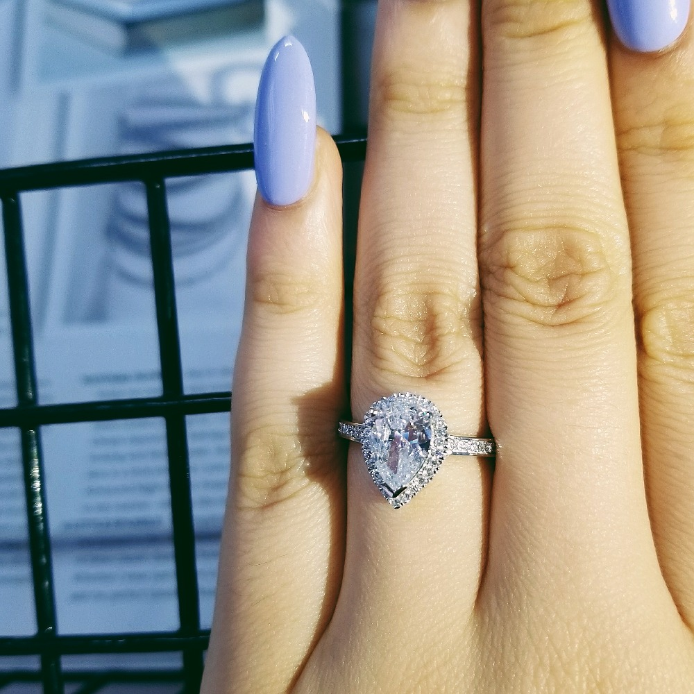 Real pink pear cut zircon the engagement Rings for Women Wedding anel aneis Fashion party gifts Jewelry R603 in Rings from Jewelry Accessories