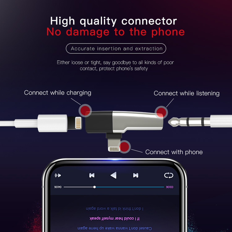 Image 3 - DM 018 Audio Aux Adapter For iPhone Xs Max Xr X 8 7 Plus Earphone Headphone Connector OTG Cable For Lightning Splitter Converter-in Memory Card Adapters from Computer & Office