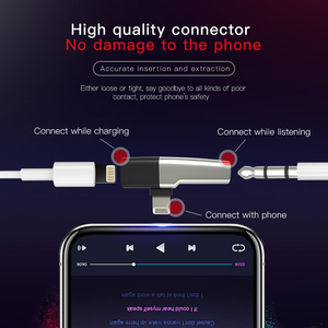 Image 3 - Dm 018 iphone xs 용 오디오 aux 어댑터 max xr x 8 7 plus 이어폰 헤드폰 커넥터 번개 분배기 변환기 용 otg 케이블