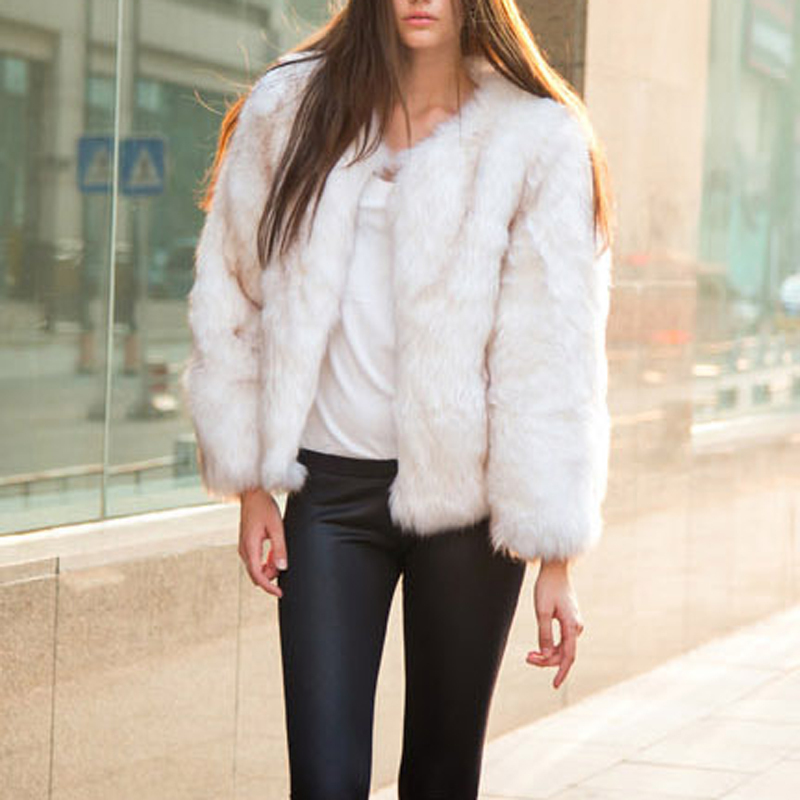 Women Winter Faux Fur Coat Fashion Fox Fur Jacket Luxury Thick ...