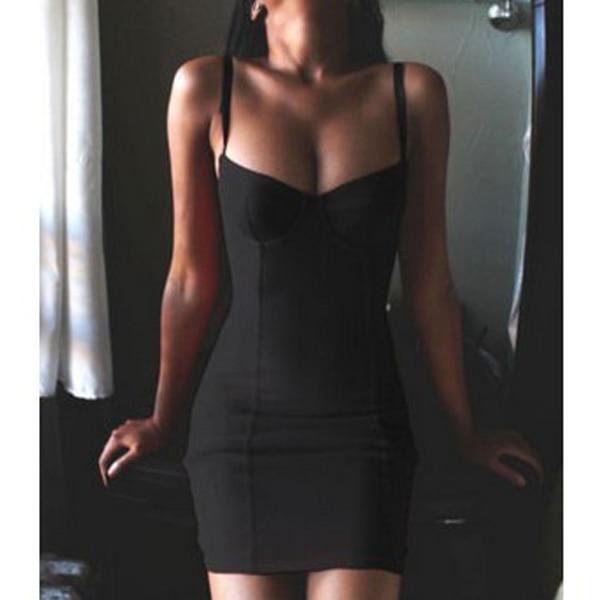 Mode été femmes Sexy Mini robe Spaghetti sangle sans manches boîte de nuit fête moulante robes GM 2