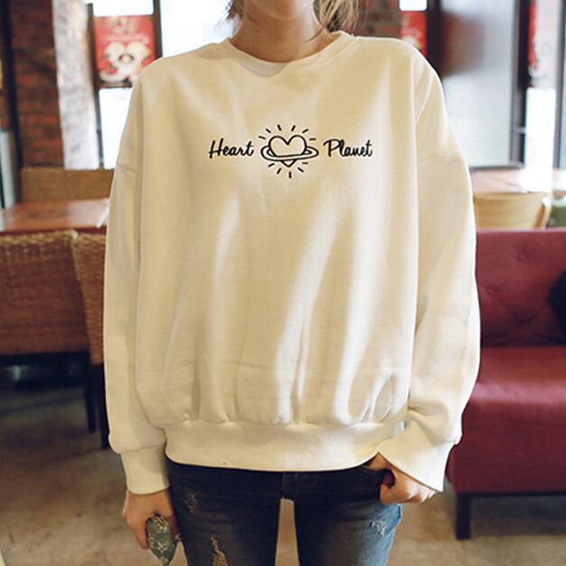 Spring Autumn New Style Women Hoodie Fashion Heart Letters Print Long Sleeve O Neck Womens Tracksuits Casual Loose Sudadera Muje