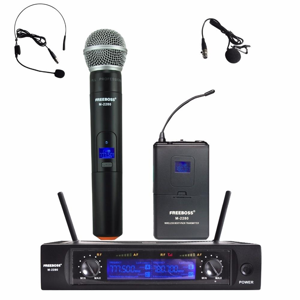 Freeboss M-2280H UHF Dual Channel Mic Transmitter Professional Karaoke Wireless Headset + Lapel + Handheld Microphone
