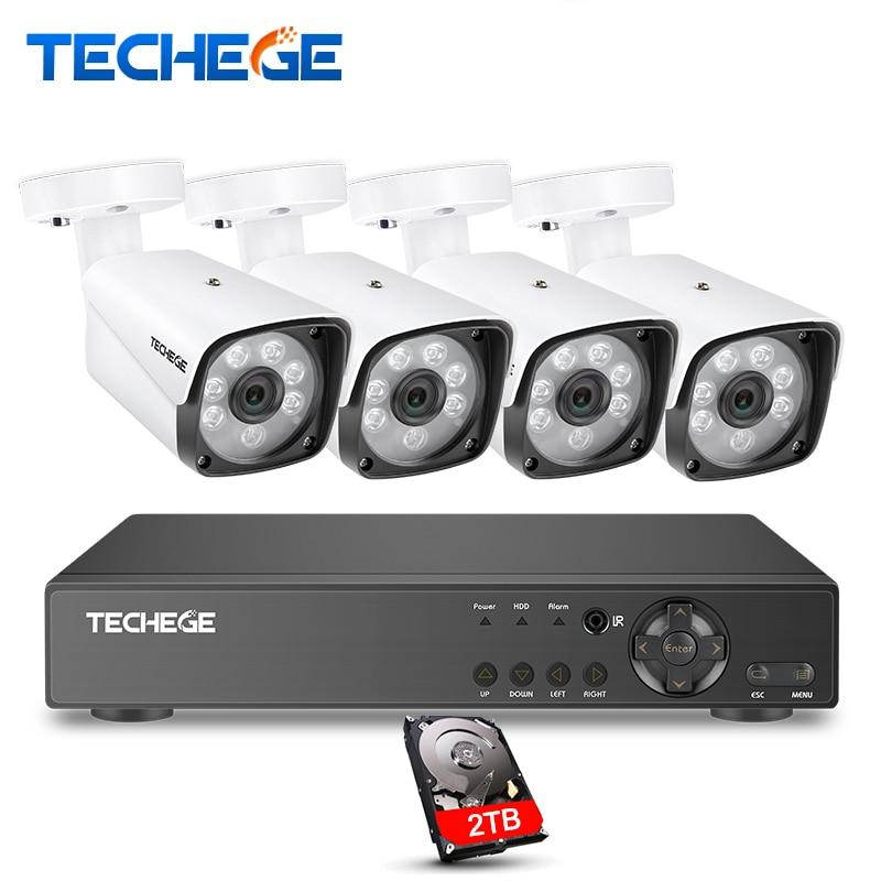 Techege 4CH CCTV System 4CH 720P AHD DVR 4PCS 1.0MP Outdoor Waterproof CCTV Camera 1200TVL Home Security System Surveillance Kit