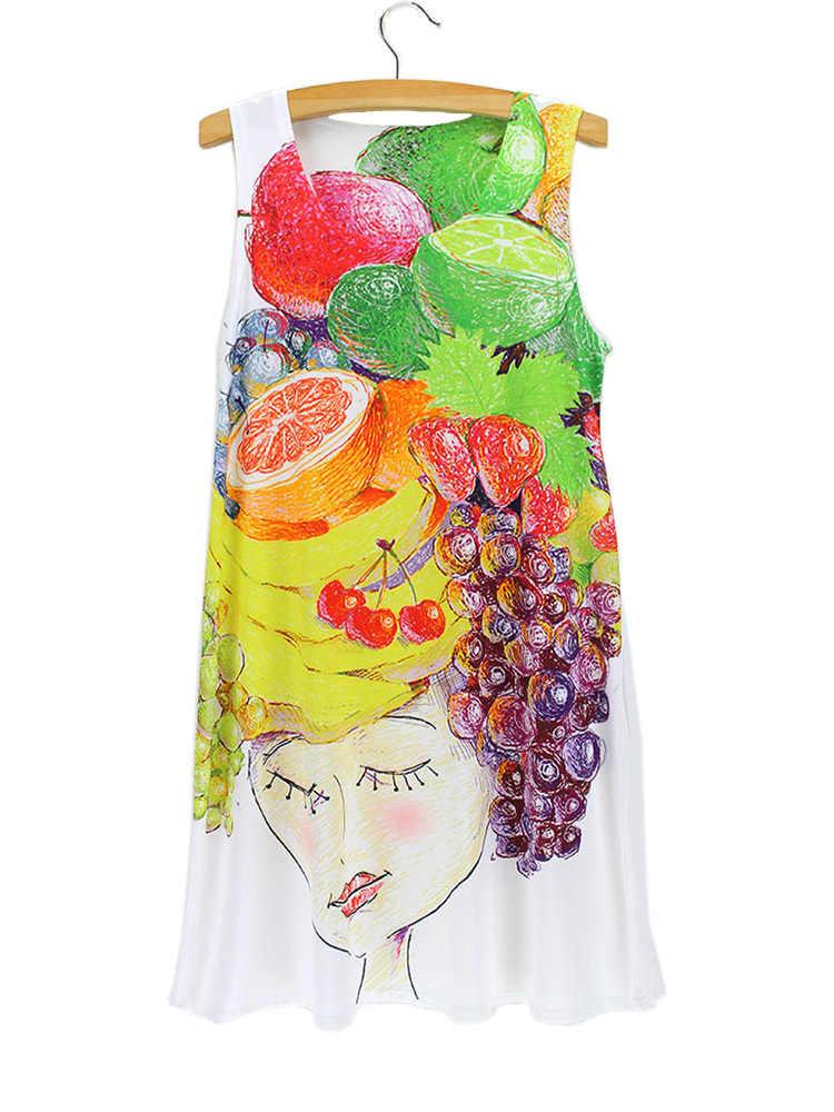 Фрукты банан оранжевый цвет платье виноград лимон вишня леди Портрет женские платья женские короткие без рукавов Круглый пляжное платье-майка