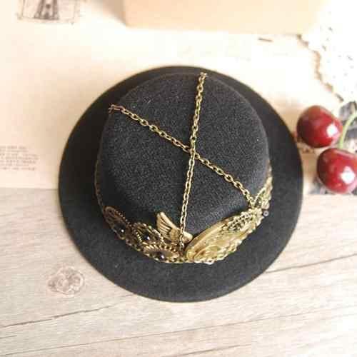 2d1d85800daa1 ... Steampunk Gear   Clock Chain Wing Mini Top Hat Lolita Cosplay Costome  Dress Hair Accessories ...