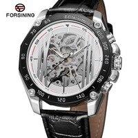 Forsining 2019 Novos Projeto Do Esporte Militar Automático Transparente Prata Aço Inoxidável Mens Relógios Mecânicos