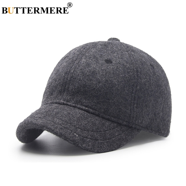 BUTTERMERE Baseball Cap Men Wool Winter Spring Stylish Black Peaked Caps  Adjustable Vintage British Casual Baseball Hats And Cap acc8534758e