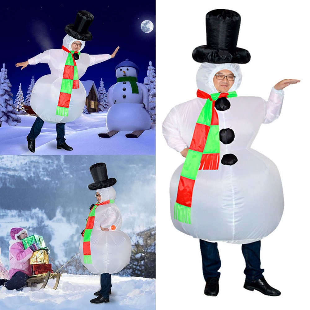 Christmas Fancy Dress.Funny Adult Inflatable Frosty Snowman Xmas Costume Christmas Fancy Dress Outfit Mascot Custom Costume Halloween Costumes Children From Swallowwa