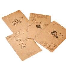40 unids/lote violín de Piano Vintage, pequeño cuaderno de papel, diario, papelería, regalos para niños