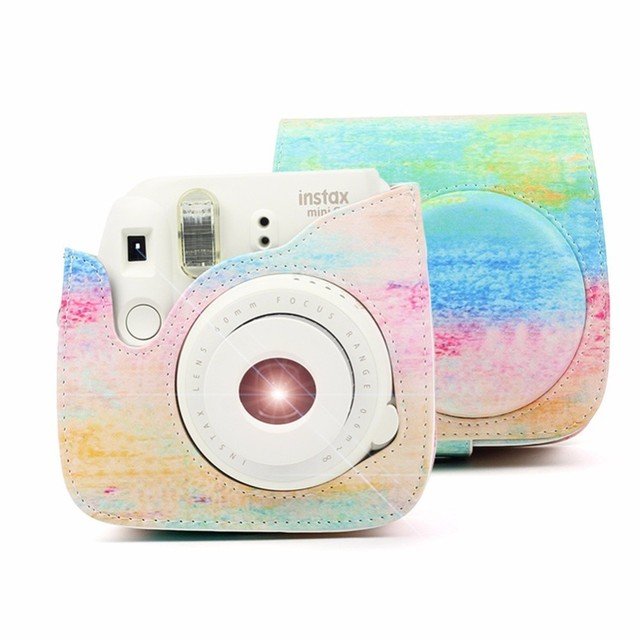 ad8f319d7f 2018 NOVA Rainbow Color PU LEATHER Shoulder Bag Protector Capa Bolsa Caso  Para Fujifilm Câmera Instantânea