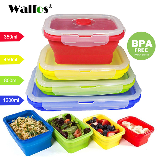 Walfos Folding Silicone Lunch Box Food Storage Container Kitchen