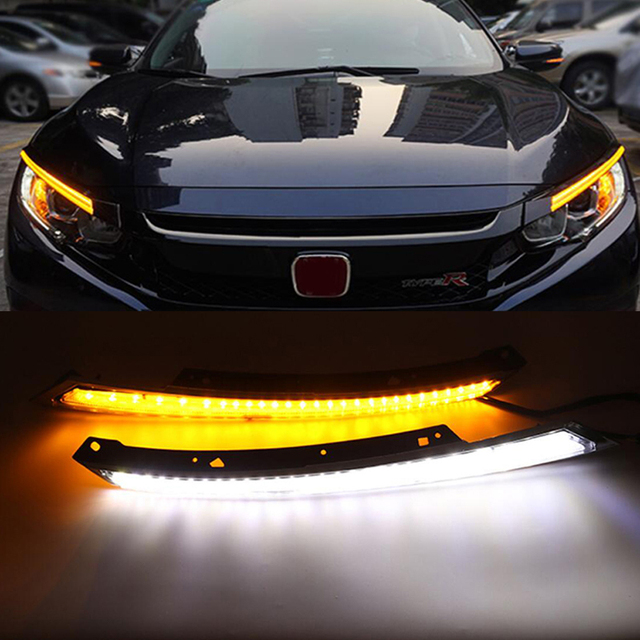 Daytime Running Light DRL Blink Water Flowing LED Headlight Eyebrow Yellow Turn Signal  Night Blue For Honda Civic 2016 2017