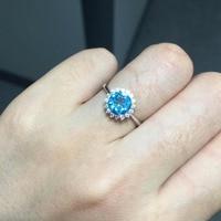 Dia 7 mét Carat Natural Gemstone Blue Topaz Nhẫn Nữ Rắn 925 Sterling Bạc Nhạc Original Trang Sức Engagement Bijou Quà Tặng