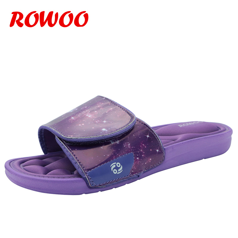 Men Slippers Purple Classic Hotel House Shoes Adjustable Upper EVA Memory Foam Beach Men Sandals Indoor Slides Slippers Male