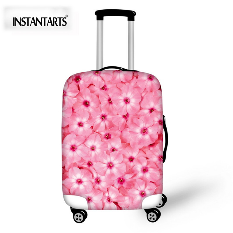 INSTANTARTS Pink Floral Luggage Protective Cover Elastic Stretch Suitcase Cover For 18-30Inch Case Travel Accessories Waterproof