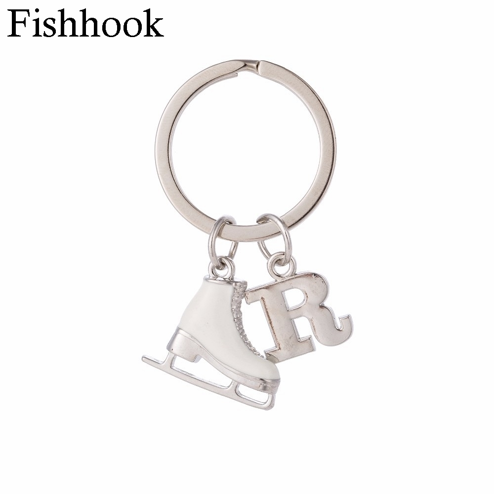 Fishhook Letter Pandants 26 алфавиті Алғашқы кілттері White эмаль 3D Ice Skate Figure skating Gift Key Holder Keychain