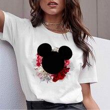 8d7f6afa84 Camiseta Mujer Harajuku T koszula kobiety 2019 odzież koreański kwiaty  Mickey głowy koszulki z nadrukami Vogue