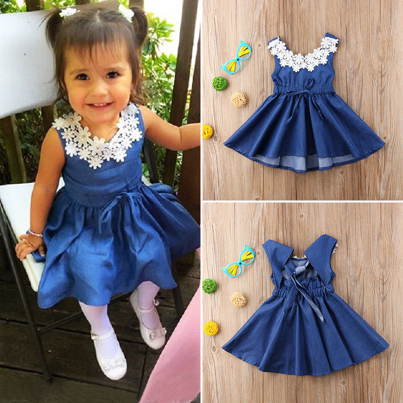 8899672346701 US $6.08 26% OFF|2018 New Fashion Hot Cute Toddler Kids Baby Girl Lace  Floral Denim Princess Party Dress Sundress 1 6Y-in Dresses from Mother &  Kids ...