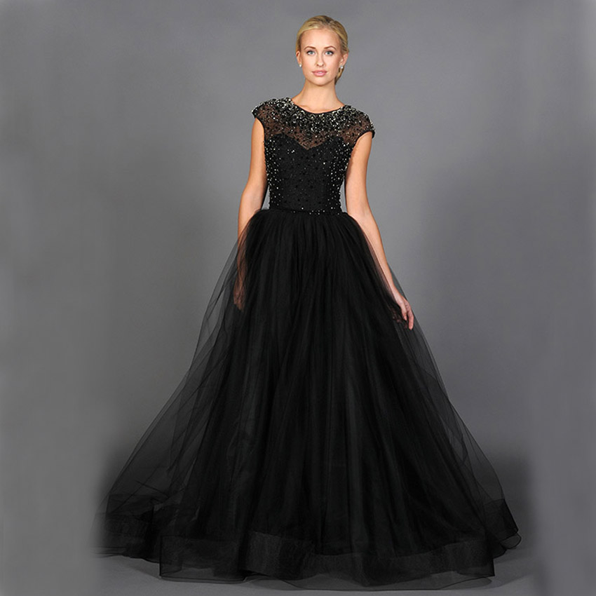 Black Wedding Gowns For Sale: Hot Sale Black Beaded Crystal Abendkleider Evening Dresses
