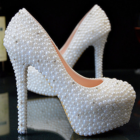 White Heels With Pearls | Tsaa Heel