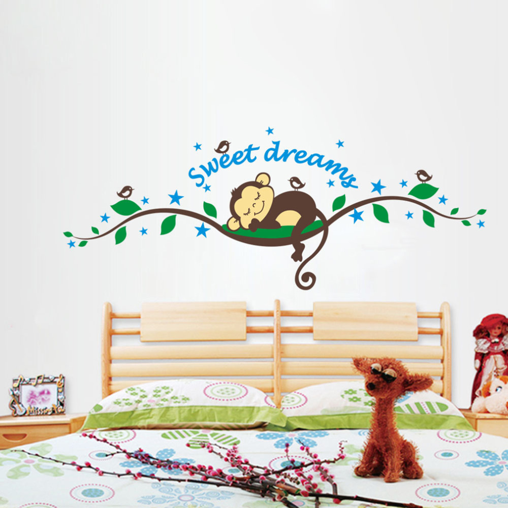 Sweet Dream Kawaii Monkey Wall Stickers Kids Room Decoration Cartoon Tree  Home Decals Bedroom Mural Art Children Gifts In Wall Stickers From Home U0026  Garden ...