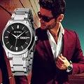 2016 nova eyki homens mulheres de negócios de ouro relógio de pulso de aço inoxidável relógios de luxo da marca casal relógio com calendário montre femme