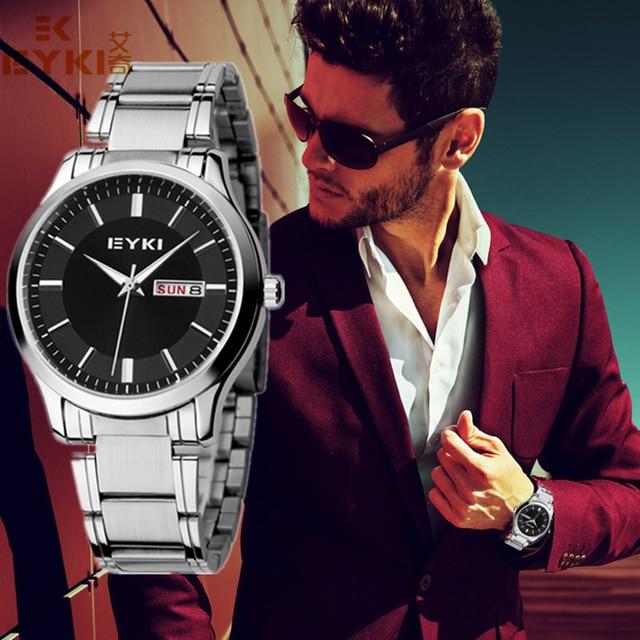 2016 nueva eyki mujeres de los hombres de negocios reloj de oro marca pareja reloj con calendario de acero inoxidable relojes de pulsera de lujo montre femme