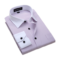 Quality Plus size 8xl slim fit long sleeve striped black button patchwork white collar non-iron easy care  mens dress shirts Dress Shirts