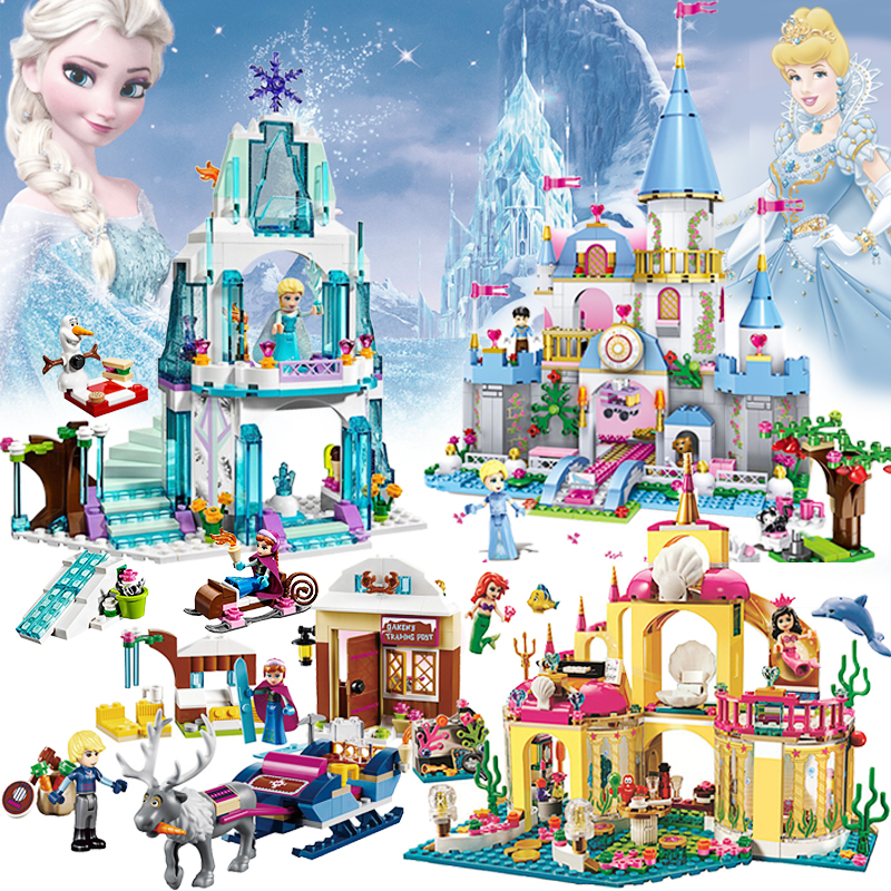 Friends LegoINGly Princess Girl Building Blocks Compatible Mermaid Undersea Palace Elsa House Ice Castle Pumpkin Carriage lepin diy girl friends series the undersea palace set castle building blocks bricks toys for children compatible with legoingly