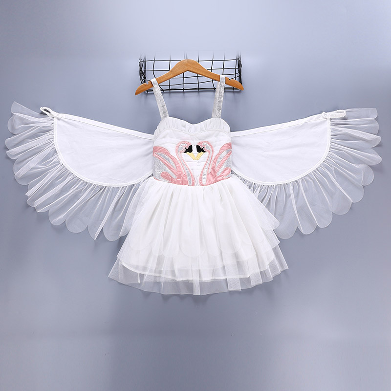 Baby Girls Swan Flamingo Dresses with Wings Costume For Children Birthday Dance Princess party Dress Halloween Costumes