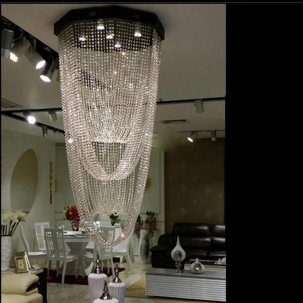Duplex floor long chandeliers staircase lights villa led crystal ceiling lamp floor in the living room hotel chandeliers led 5 circle ring modern fashion floor living room led ceiling lights creative villa long circular staircase lights luxury lamp