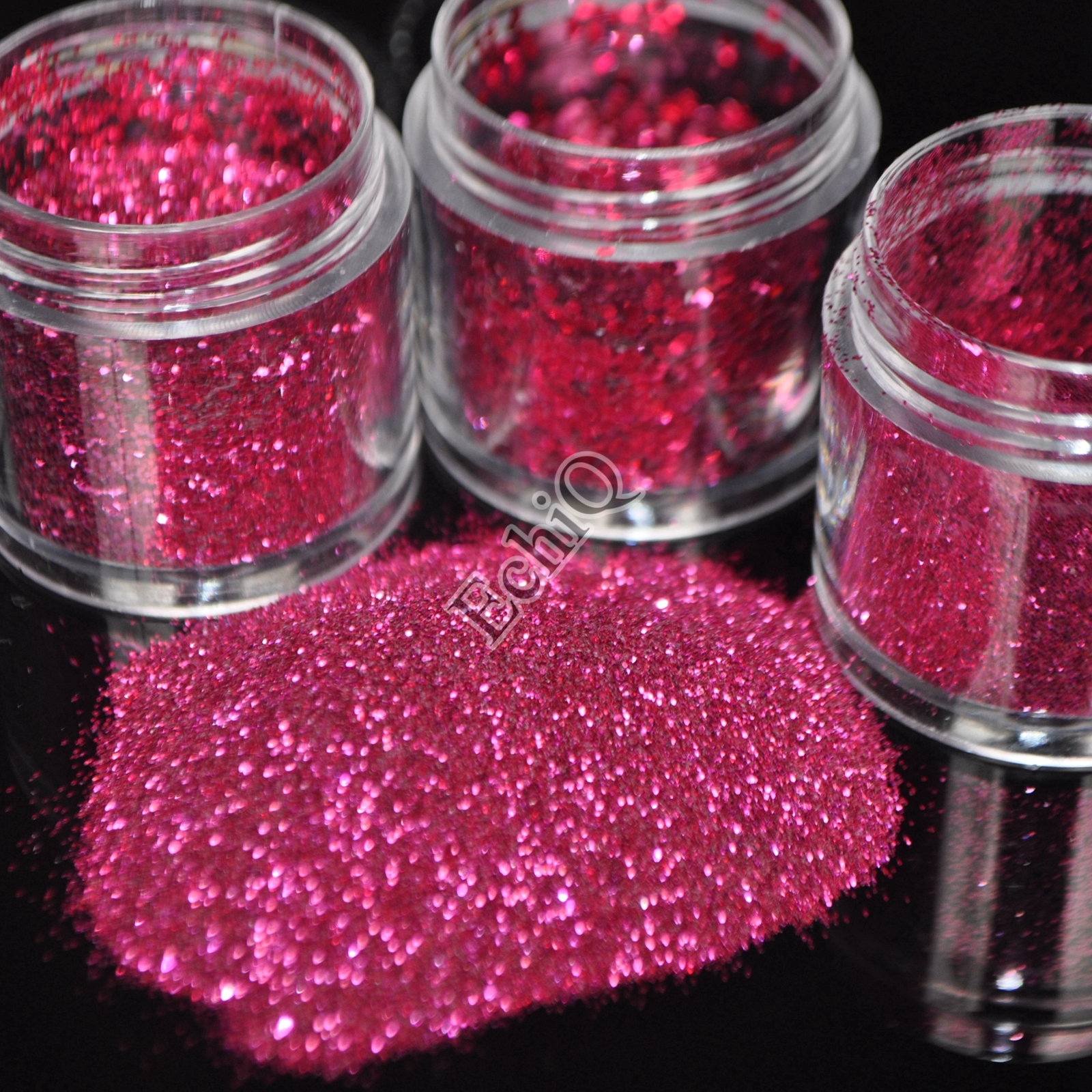 Shiny Dark Hot Pink Nail Art Glitter Acrylic 3D Hexagon Shape ...